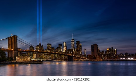 NYC Skyline 9/11 Tribute in Lights