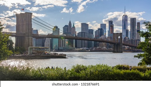NYC Skyline from DUMBO in the district of Brooklyn, New York, USA