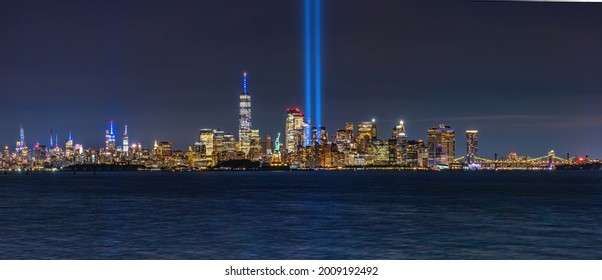 NYC Skyline with the tribute in lights