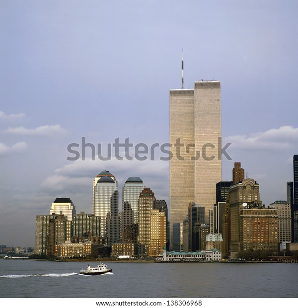 The NYC skyline with the World Trade Center seen from NJ