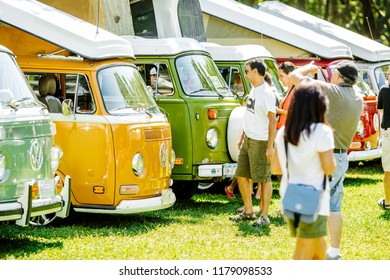 NYC, USA - AUGUST 25, 2013: Retro styled image of colorful Volkswagen Transporter vans from the NYC Volkswagen Traffic Jam on August 25, 2013 in NYC, USA.