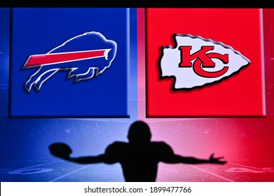 NYC, USA, JANUARY 20, 2021:NFL CONFERENCE CHAMPIONSHIP 2020 – Buffalo Bills vs Kansas City Chiefs. . Silhouette of professional american football player. Logo of NFL club in background, edit space.