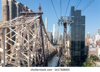 NYC, USA - September 23, 2019: The Queensboro Bridge and the tramway from Midtown Manhattan to Roosevelt Island.