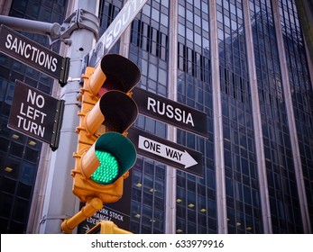 NYC Wall street yellow traffic light black pointer guide one way green light to Russia no turn no way to Sanctions Anti sanctions campaign propaganda concept Way to dialogue with Russia Dirty politics