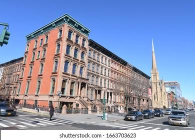 NYC/USA - February 14, 2020: Harlem street view, New York City, USA