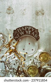 NYE Background: Grungy New Year Background With Champagne