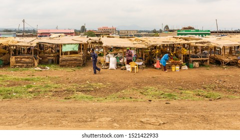 Nyeri-Nanyuki road, Kenya – June 20th, 2019: Street photograph of typical large Kenyan market found on-side of the Nyeri – Nanyuki road (A2).