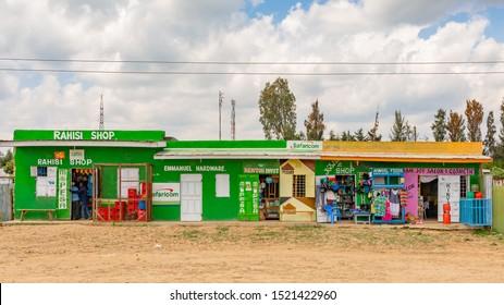 Nyeri-Nanyuki road, Kenya – June 20th, 2019: Street photograph of typical Kenyan small convenience stores found on-side of the Nyeri – Nanyuki road (A2).