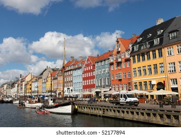 Nyhavn in Copenhagen, Denmark - one of the most popular tourist places of the Danish capital