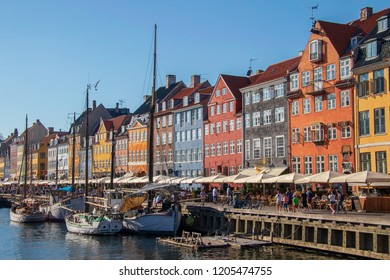 Nyhavn district in Copenhagen, the capital of Denmark. Nyhavn is a 17th-century waterfront, canal and entertainment district.