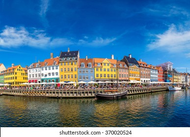 Nyhavn district is one of the most famous landmark in Copenhagen in a summer day, Denmark