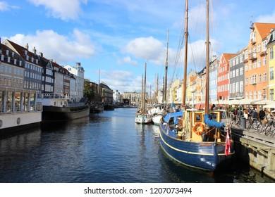 Nyhavn Harbor in Copenhagen,Denmark,Europe