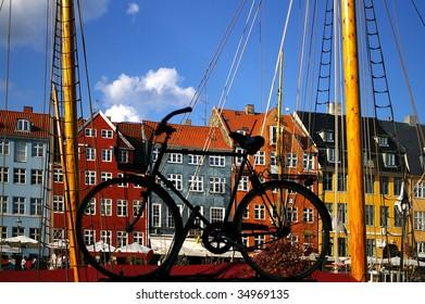 Nyhavn (new Harbor) in Copenhagen through a bicycle.