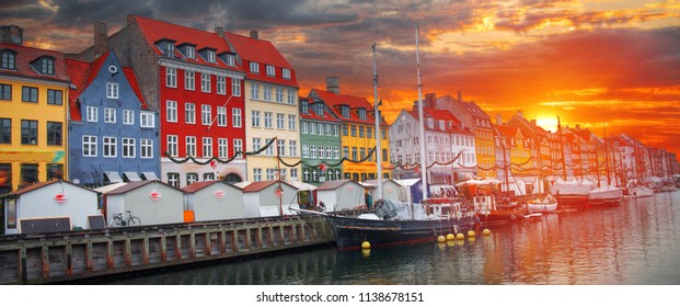 Nyhavn is the old harbor of Copenhagen. Denmark