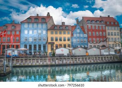 Nyhavn is the old harbor of Copenhagen. Denmark