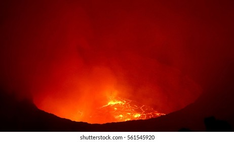 Nyiragongo Volcano DR Congo, active Stratovolcano, persistent lava lake in the summit crater. It has a 1.2. km diameter summit caldera containing the world's most active and largest lava lake.
