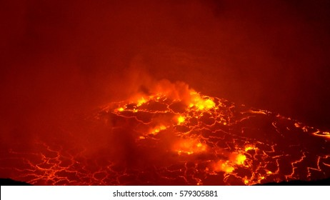 Nyiragongo Volcano DR Congo, active Stratovolcano,  lava lake, lava flow in the crater. It has a 1.2. km diameter summit caldera containing the world's most active and largest lava lake.