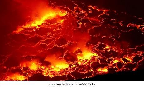 Nyiragongo Vulcan, active Stratovulcano, Lava, DR Congo, 2017
