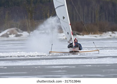 NYKOPING,SWEDEN - MARS 25:Ice yacht on a Swedish lake in  Nykoping,Sweden,Mars 25,2015