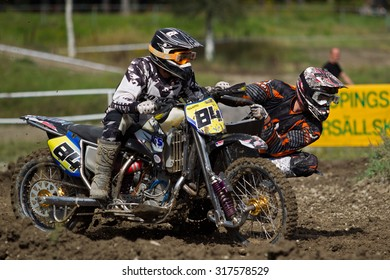 NYKOPING,SWEDEN - SEP 25:Sidecarcross on a racetrack in  Nykoping,Sweden,September 25,2015