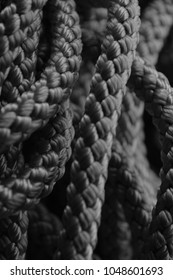 Nylon rope, black and white look of a nylon rope Background