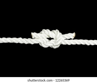 Nylon rope tied in a square knot