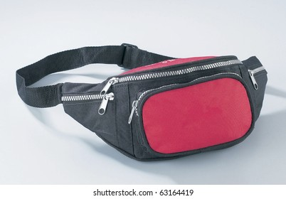 Nylon waist pouch for keeping mobile phone, wallet, and camera.