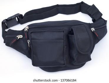 Nylon waist pouch on white background