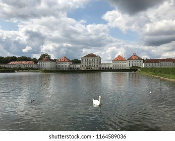 Nymphenburg Palace, Germany on 26.08.2018: Nymphenburg Palace in Munich on a cloudy autumn day.