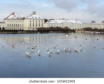 Nymphenburg Palace, Munich, Germany, during winter with snow covers rooftop with bird and swans in frozen lake