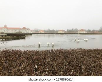 Nymphenburg Palace in Munich on a cloudy winter day.