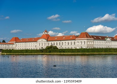 Nymphenburg Palace of Munich (Schloss Nymphenburg - Castle of the Nymphs) with the pond. The palace was the main summer residence of the former rulers of Bavaria