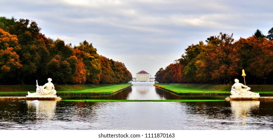 Nymphenburg Palace, Reflecting Pool, Stone Statues, and Expansive Palace Gardens in Munich, Germany