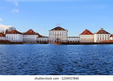 Nymphenburg Palace (Schloss Nymphenburg - Castle of the Nymphs) with the lake or pond. The palace was the main summer residence of the former rulers of Bavaria