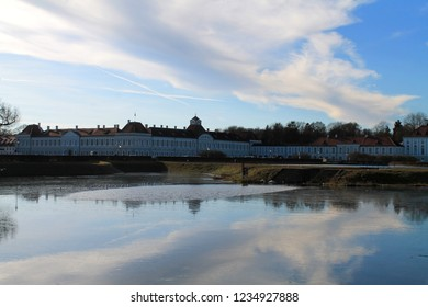Nymphenburg Palace (Schloss Nymphenburg - Castle of the Nymphs) with the lake or pond. The palace was the main summer residence of the former rulers of Bavari