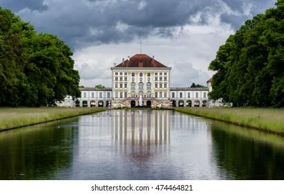 Nymphenburg River Reflection Landscape Munich Germany