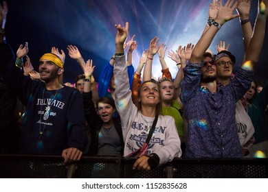 Nyon, Switzerland - 17 July 2018: audience cheering and dancing at concert of UK based indie pop bandSuperorganism at Paleo Festival