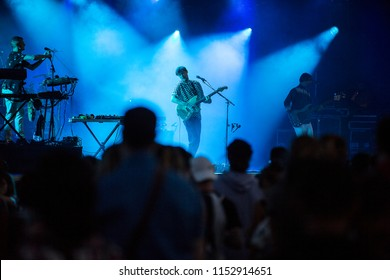 Nyon, Switzerland - 17 July 2018: concert of British art rock band Django Django viewed from the audience crowd at Paleo Festival