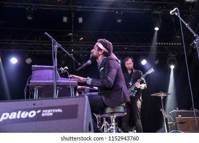 Nyon, Switzerland - 17 July 2018: concert of American experimental band Algiers at Paleo Festival