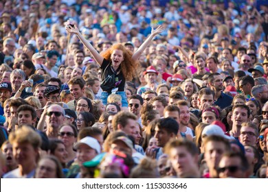 Nyon, Switzerland - 17 July 2018: audience cheering and singing at concert of Icelandic blues-rock band at Paleo Festival
