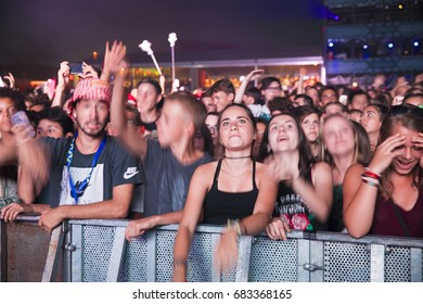 Nyon, Switzerland - 18 July 2017: audience of young fans at concert of French electronic musician Petit Biscuit at Paleo Festival