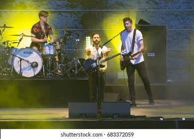 Nyon, Switzerland - 18 July 2017: concert of English rock band Foals at Paleo Festival
