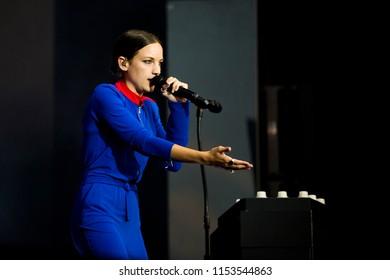 Nyon, Switzerland - 18 July 2018: concert of French pop singer Jain at Paleo Festival