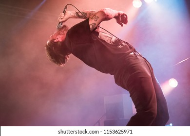 Nyon, Switzerland - 18 July 2018: concert of British punk rock band IDLES at Paleo Festival