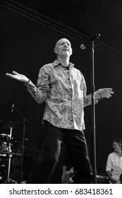 Nyon, Switzerland - 19 July 2017: Concert of Australian rock band Midnight Oil at Paleo Festival