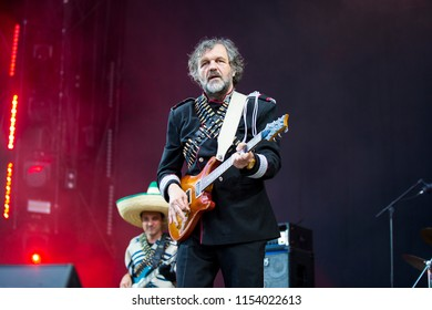 Nyon, Switzerland - 19 July 2018: concert of Serbian rock and punk band Emir Kusturica and the No Smoking Orchestra at Paleo Festival