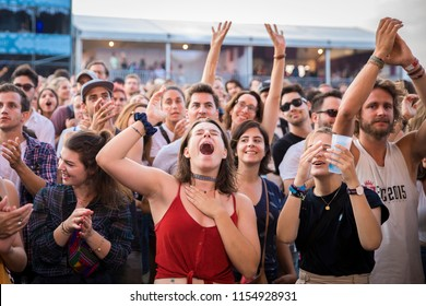 Nyon, Switzerland - 19 July 2018: fans in the audience at singing and cheering at concert of Cuban-French twins singers of band Ibeyi at Paleo Festival
