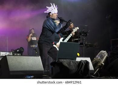 Nyon, Switzerland - 20 July 2017:  concert of British funk and acid jazz band Jamiroquai at Paleo Festival