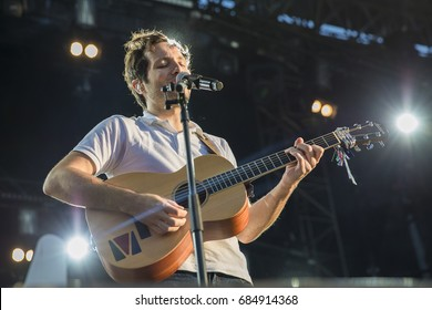 Nyon, Switzerland - 20 July 2017:  concert of French singer Vianney at Paleo Festival