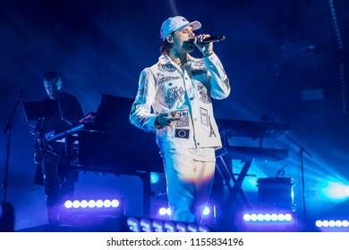 Nyon, Switzerland - 20 July 2018: concert of French rapper Orelsan at Paleo Festival